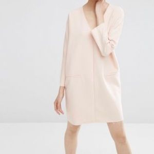ASOS Plunge Neck Shift Dress Raw Edge in pink